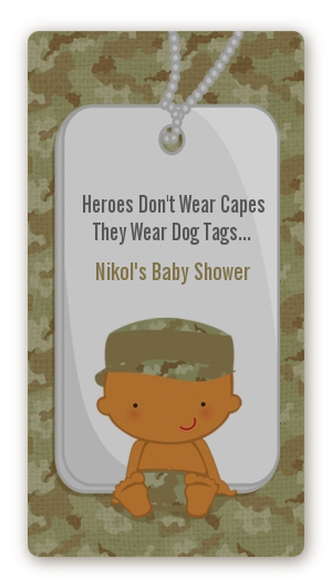 Camo Military - Custom Rectangle Baby Shower Sticker/Labels Caucasian
