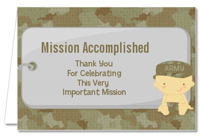 Camo Military - Baby Shower Thank You Cards Caucasian