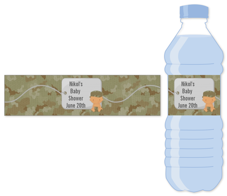 Camo Military - Personalized Baby Shower Water Bottle Labels Caucasian
