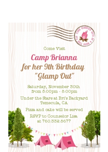Camping Glam Style - Birthday Party Petite Invitations