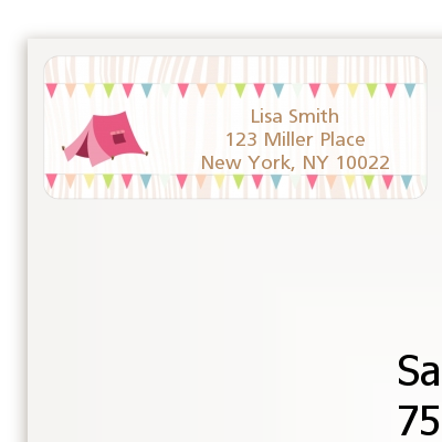camping glam style birthday party return address labels birthday
