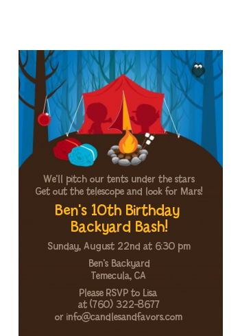 Camping - Birthday Party Petite Invitations