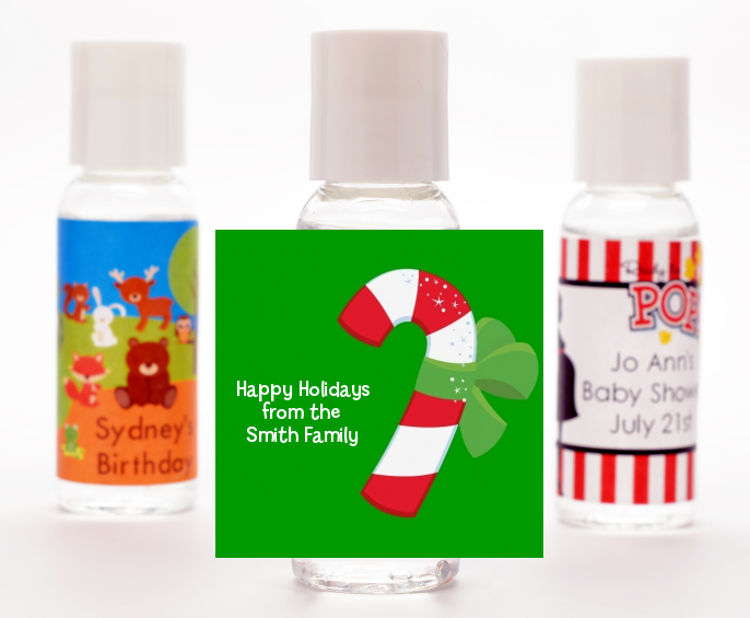 Candy Cane Christmas Hand Sanitizer Favors