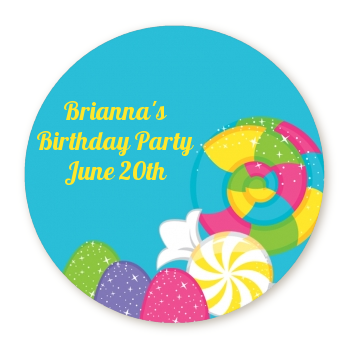 Candy Land - Round Personalized Birthday Party Sticker Labels