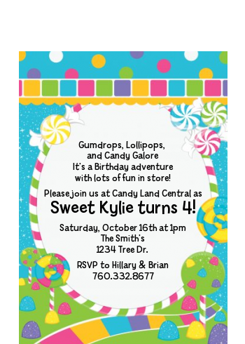 Candy Land Birthday Party Pee Invitations