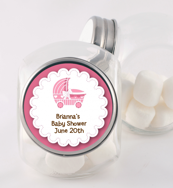 Carriage - Personalized Baby Shower Candy Jar Blue