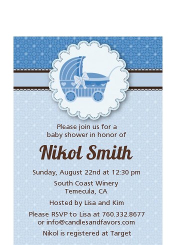 Carriage - Baby Shower Petite Invitations Blue