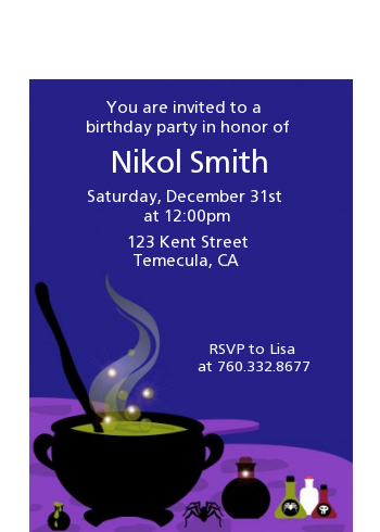 Cauldron & Potions - Birthday Party Petite Invitations