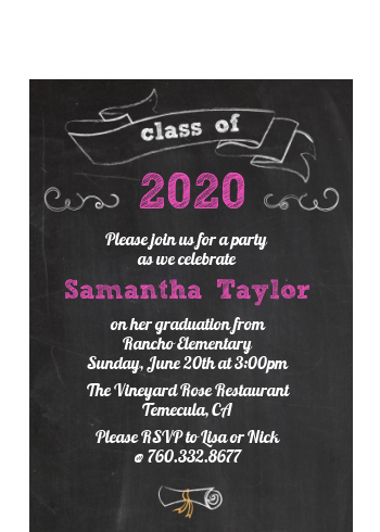 Chalkboard Celebration - Graduation Party Petite Invitations
