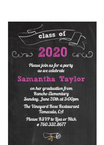 chalkboard celebration graduation party petite invitations