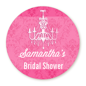 Chandelier - Round Personalized Bridal Shower Sticker Labels