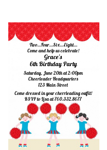 Cheerleader - Birthday Party Petite Invitations