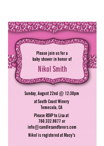 cheetah print pink - birthday party petite invitations