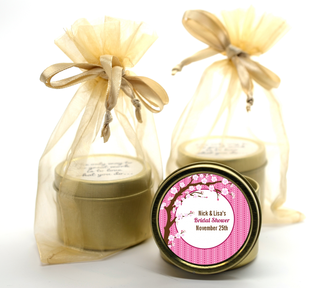 Cherry Blossom Gold Tin Candle Favors | Candles & Favors