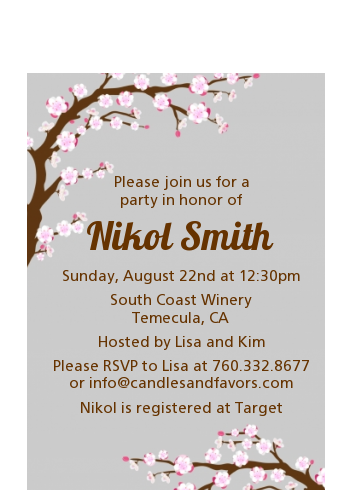 Cherry Blossom - Baby Shower Petite Invitations Grey