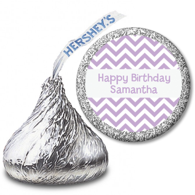 Chevron Purple - Hershey Kiss Birthday Party Sticker Labels