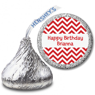 Chevron Red - Hershey Kiss Birthday Party Sticker Labels