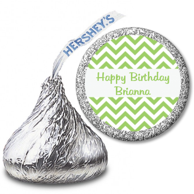 Chevron Sage Green - Hershey Kiss Birthday Party Sticker Labels