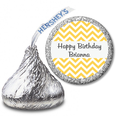 Chevron Yellow - Hershey Kiss Birthday Party Sticker Labels