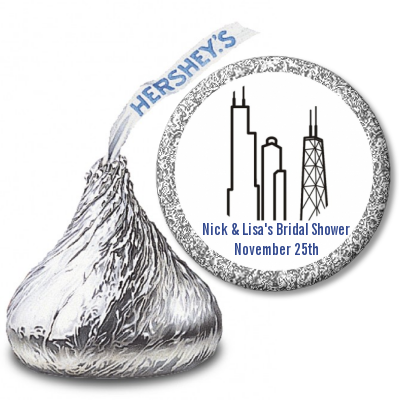 Chicago - Hershey Kiss Bridal Shower Sticker Labels