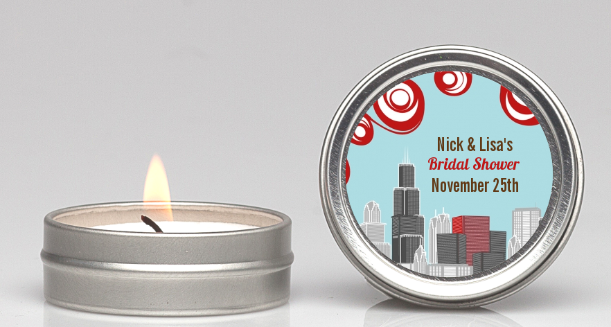 chicago skyline bridal shower candle favors