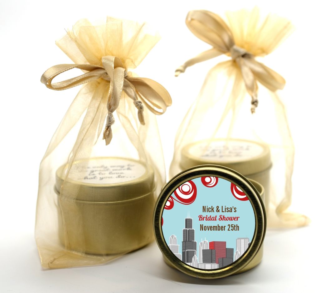 Chicago Skyline Gold Tin Candle Favors | Candles & Favors