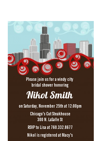 Chicago Skyline - Bridal Shower Petite Invitations