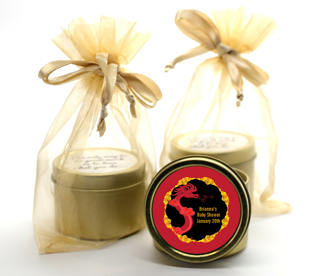 Chinese New Year Dragon Gold Tin Candle Favors | Candles & Favors