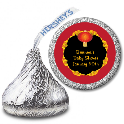 Chinese New Year Lantern - Hershey Kiss Baby Shower Sticker Labels