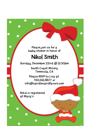 Christmas Baby African American - Baby Shower Petite Invitations