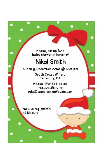 Christmas Baby Caucasian - Baby Shower Petite Invitations