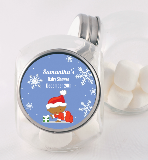 Christmas Baby Snowflakes African American - Personalized Baby Shower Candy Jar A
