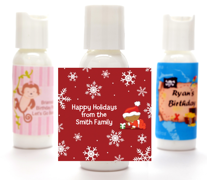 Christmas Baby Snowflakes African American - Personalized Christmas Lotion Favors Blue