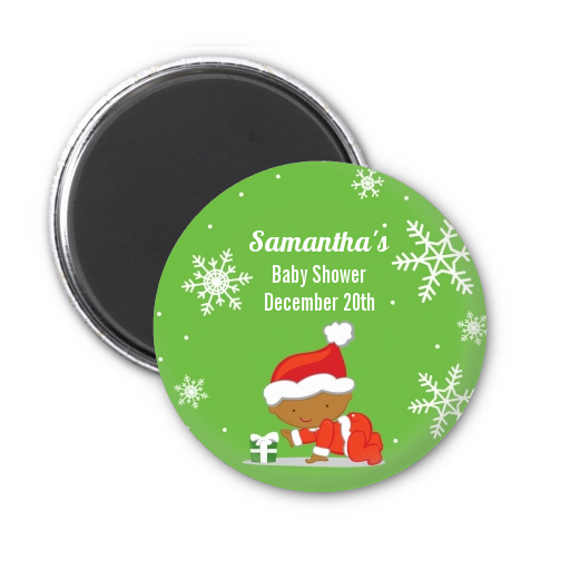 Christmas Baby Snowflakes African American - Personalized Baby Shower Magnet Favors A