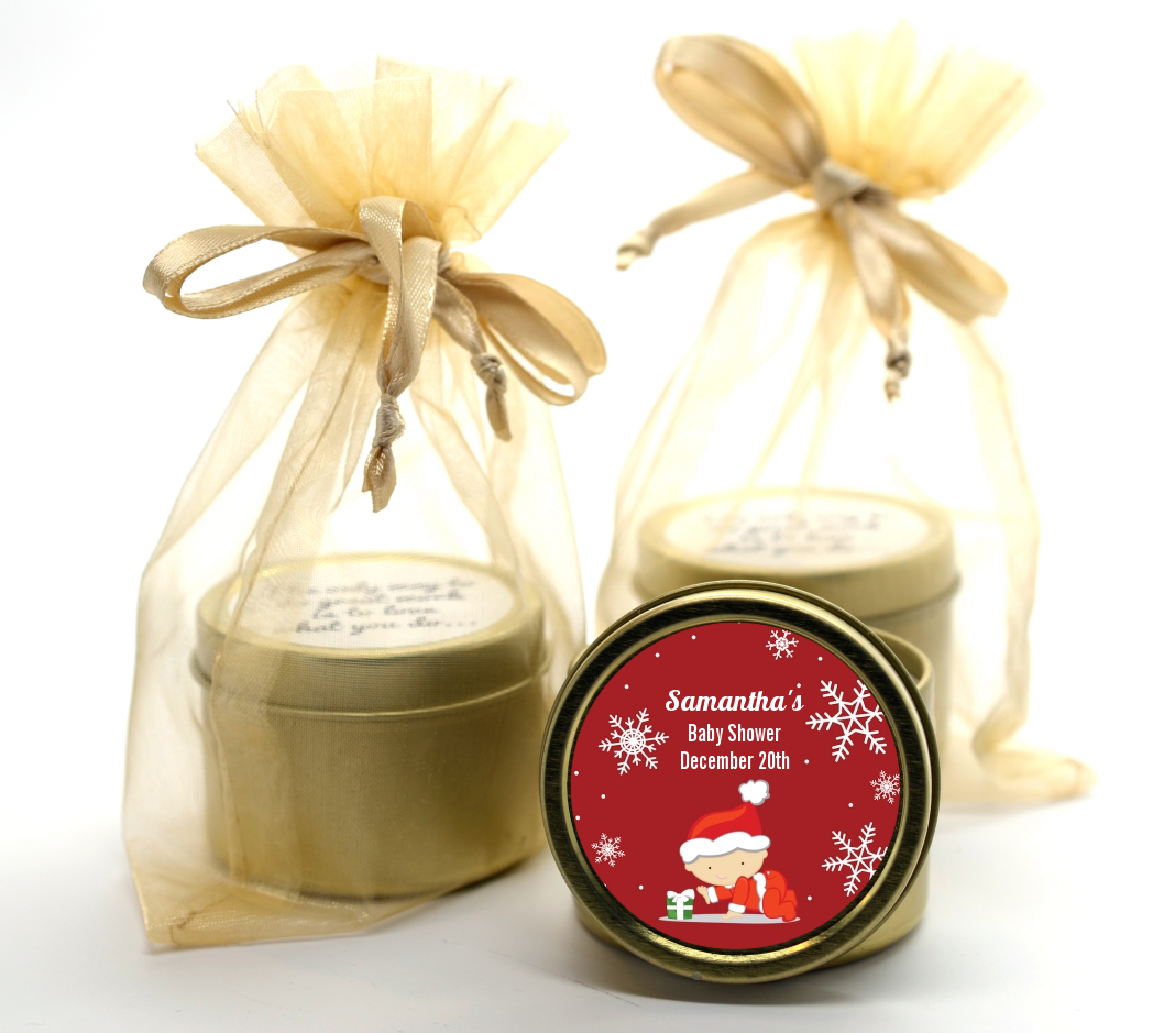Christmas Baby Snowflakes - Baby Shower Gold Tin Candle Favors A