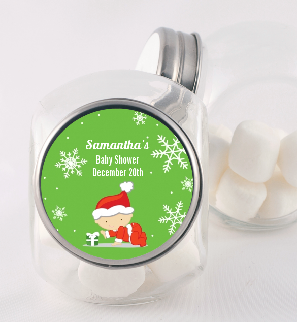 Christmas Baby Snowflakes - Personalized Baby Shower Candy Jar A