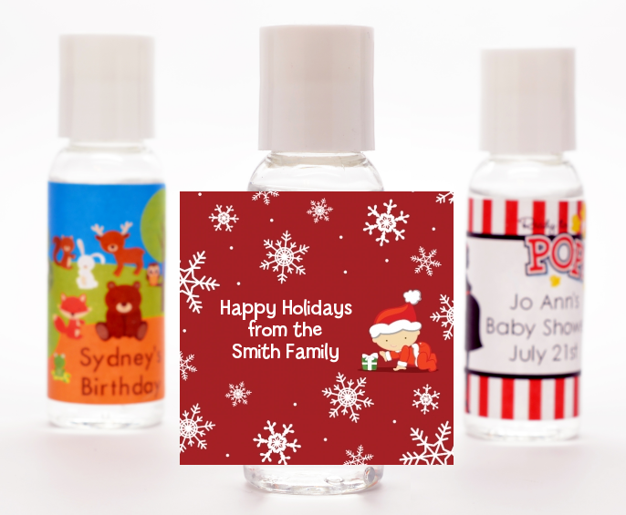 Christmas Baby Snowflakes - Personalized Christmas Hand Sanitizers Favors Blue
