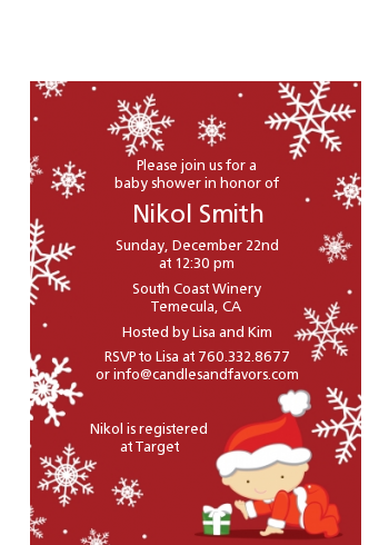 Christmas Baby Snowflakes - Baby Shower Petite Invitations Blue Background