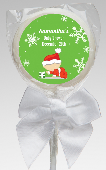 Christmas Baby Snowflakes - Personalized Baby Shower Lollipop Favors A