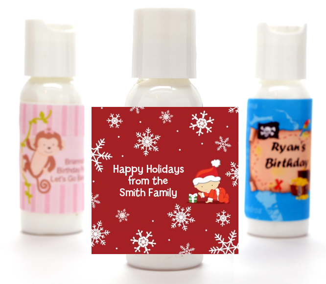 Christmas Baby Snowflakes - Personalized Christmas Lotion Favors Blue