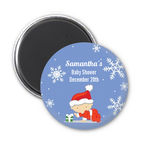 Christmas Baby Snowflakes - Personalized Baby Shower Magnet Favors A