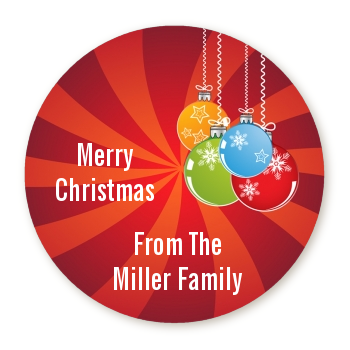 Christmas Ornaments - Round Personalized Christmas Sticker Labels