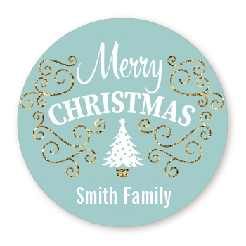 Christmas Tree with Glitter Scrolls - Round Personalized Christmas Sticker Labels