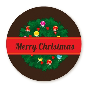 Christmas Wreath and Bells - Round Personalized Christmas Sticker Labels