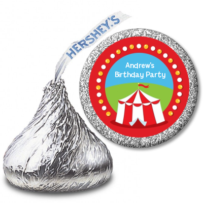 Circus Tent - Hershey Kiss Birthday Party Sticker Labels