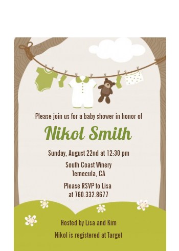 Clothesline It's A Baby - Baby Shower Petite Invitations