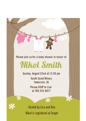 Clothesline It's A Girl - Baby Shower Petite Invitations