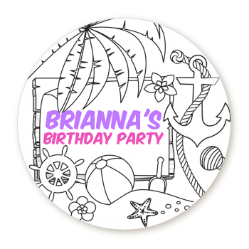 Color You Own - Beach Scene - Round Personalized Birthday Party Sticker Labels