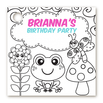 Color Your Own - Spring Garden - Personalized Birthday Party Card Stock Favor Tags
