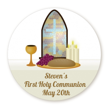 Communion Collage - Round Personalized Baptism / Christening Sticker Labels